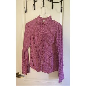 Long Sleeve Pink White Button Down Blouse